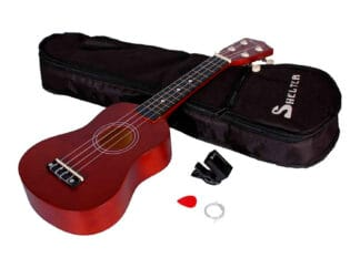 Shelter-ukulele-brun-UK1S-BW-pakke-med-bag-plekter-og-tuner Drum Limousine