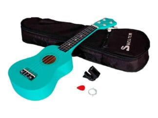 Shelter-ukulele-grøn-UK1S-GN-pakke-med-bag-plekter-og-tuner Drum Limousine