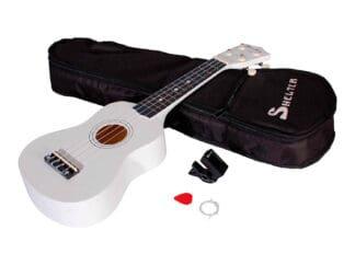 Shelter-ukulele-hvid-UK1S-WH-pakke-med-bag-plekter-og-tuner Drum LImousine