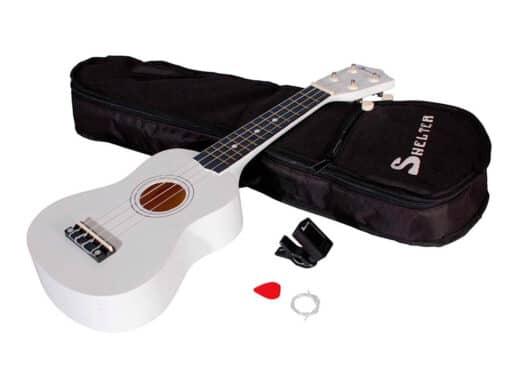 Shelter-ukulele-hvid-UK1S-WH-pakke-med-bag-plekter-og-tuner