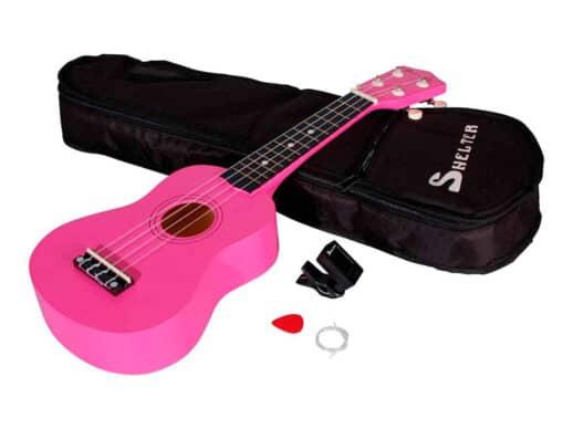 Shelter-ukulele-pink-UK1S-RD-pakke-med-bag-plekter-og-tuner