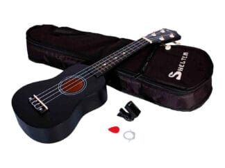 Shelter-ukulele-sort-UK1S-BK-pakke-med-bag-plekter-og-tuner Drum Limousine