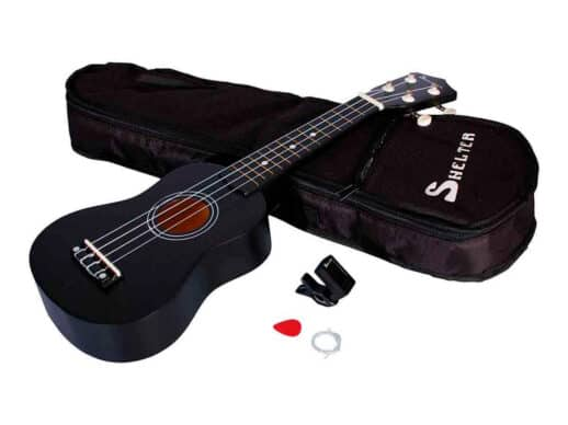 Shelter-ukulele-sort-UK1S-BK-pakke-med-bag-plekter-og-tuner